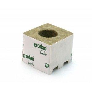 Κύβος Πετροβάμβακα Grodan 3'' με μεγάλη τρύπα (75x75mm)